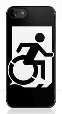 Accessible Means of Egress Icon Exit Sign Wheelchair Wheelie Running Man Symbol by Lee Wilson PWD Disability Emergency Evacuation iPhone Case 156