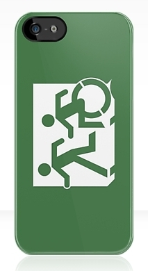 Accessible Means of Egress Icon Exit Sign Wheelchair Wheelie Running Man Symbol by Lee Wilson PWD Disability Emergency Evacuation iPhone Case 157