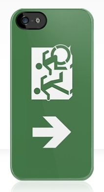 Accessible Means of Egress Icon Exit Sign Wheelchair Wheelie Running Man Symbol by Lee Wilson PWD Disability Emergency Evacuation iPhone Case 158