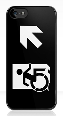 Accessible Means of Egress Icon Exit Sign Wheelchair Wheelie Running Man Symbol by Lee Wilson PWD Disability Emergency Evacuation iPhone Case 159