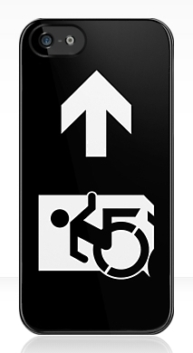 Accessible Means of Egress Icon Exit Sign Wheelchair Wheelie Running Man Symbol by Lee Wilson PWD Disability Emergency Evacuation iPhone Case 160
