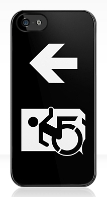 Accessible Means of Egress Icon Exit Sign Wheelchair Wheelie Running Man Symbol by Lee Wilson PWD Disability Emergency Evacuation iPhone Case 161