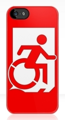 Accessible Means of Egress Icon Exit Sign Wheelchair Wheelie Running Man Symbol by Lee Wilson PWD Disability Emergency Evacuation iPhone Case 162