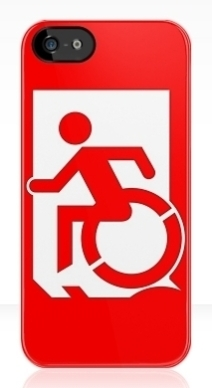 Accessible Means of Egress Icon Exit Sign Wheelchair Wheelie Running Man Symbol by Lee Wilson PWD Disability Emergency Evacuation iPhone Case 163