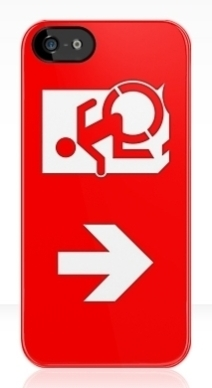Accessible Means of Egress Icon Exit Sign Wheelchair Wheelie Running Man Symbol by Lee Wilson PWD Disability Emergency Evacuation iPhone Case 164