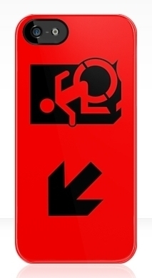 Accessible Means of Egress Icon Exit Sign Wheelchair Wheelie Running Man Symbol by Lee Wilson PWD Disability Emergency Evacuation iPhone Case 165