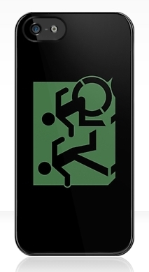 Accessible Means of Egress Icon Exit Sign Wheelchair Wheelie Running Man Symbol by Lee Wilson PWD Disability Emergency Evacuation iPhone Case 1