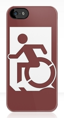 Accessible Means of Egress Icon Exit Sign Wheelchair Wheelie Running Man Symbol by Lee Wilson PWD Disability Emergency Evacuation iPhone Case 18