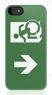 Accessible Means of Egress Icon Exit Sign Wheelchair Wheelie Running Man Symbol by Lee Wilson PWD Disability Emergency Evacuation iPhone Case 19