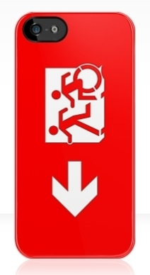 Accessible Means of Egress Icon Exit Sign Wheelchair Wheelie Running Man Symbol by Lee Wilson PWD Disability Emergency Evacuation iPhone Case 20