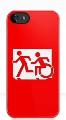 Accessible Means of Egress Icon Exit Sign Wheelchair Wheelie Running Man Symbol by Lee Wilson PWD Disability Emergency Evacuation iPhone Case 2