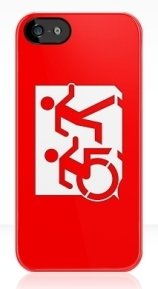 Accessible Means of Egress Icon Exit Sign Wheelchair Wheelie Running Man Symbol by Lee Wilson PWD Disability Emergency Evacuation iPhone Case 22