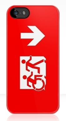 Accessible Means of Egress Icon Exit Sign Wheelchair Wheelie Running Man Symbol by Lee Wilson PWD Disability Emergency Evacuation iPhone Case 23