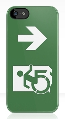 Accessible Means of Egress Icon Exit Sign Wheelchair Wheelie Running Man Symbol by Lee Wilson PWD Disability Emergency Evacuation iPhone Case 25