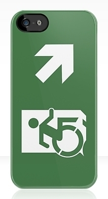 Accessible Means of Egress Icon Exit Sign Wheelchair Wheelie Running Man Symbol by Lee Wilson PWD Disability Emergency Evacuation iPhone Case 26