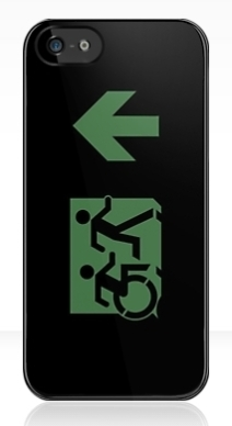 Accessible Means of Egress Icon Exit Sign Wheelchair Wheelie Running Man Symbol by Lee Wilson PWD Disability Emergency Evacuation iPhone Case 27
