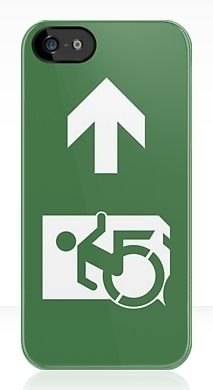 Accessible Means of Egress Icon Exit Sign Wheelchair Wheelie Running Man Symbol by Lee Wilson PWD Disability Emergency Evacuation iPhone Case 28