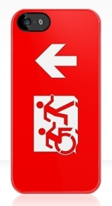 Accessible Means of Egress Icon Exit Sign Wheelchair Wheelie Running Man Symbol by Lee Wilson PWD Disability Emergency Evacuation iPhone Case 29