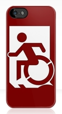 Accessible Means of Egress Icon Exit Sign Wheelchair Wheelie Running Man Symbol by Lee Wilson PWD Disability Emergency Evacuation iPhone Case 30