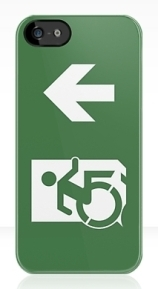 Accessible Means of Egress Icon Exit Sign Wheelchair Wheelie Running Man Symbol by Lee Wilson PWD Disability Emergency Evacuation iPhone Case 31