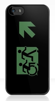 Accessible Means of Egress Icon Exit Sign Wheelchair Wheelie Running Man Symbol by Lee Wilson PWD Disability Emergency Evacuation iPhone Case 3