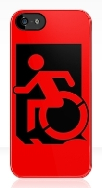 Accessible Means of Egress Icon Exit Sign Wheelchair Wheelie Running Man Symbol by Lee Wilson PWD Disability Emergency Evacuation iPhone Case 32