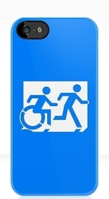 Accessible Means of Egress Icon Exit Sign Wheelchair Wheelie Running Man Symbol by Lee Wilson PWD Disability Emergency Evacuation iPhone Case 33