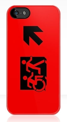 Accessible Means of Egress Icon Exit Sign Wheelchair Wheelie Running Man Symbol by Lee Wilson PWD Disability Emergency Evacuation iPhone Case 34