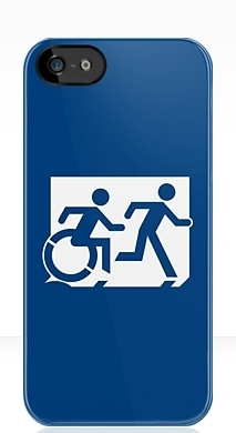 Accessible Means of Egress Icon Exit Sign Wheelchair Wheelie Running Man Symbol by Lee Wilson PWD Disability Emergency Evacuation iPhone Case 35