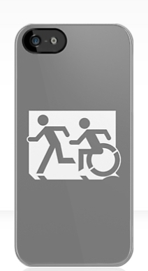 Accessible Means of Egress Icon Exit Sign Wheelchair Wheelie Running Man Symbol by Lee Wilson PWD Disability Emergency Evacuation iPhone Case 37