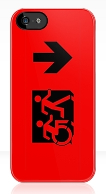 Accessible Means of Egress Icon Exit Sign Wheelchair Wheelie Running Man Symbol by Lee Wilson PWD Disability Emergency Evacuation iPhone Case 38