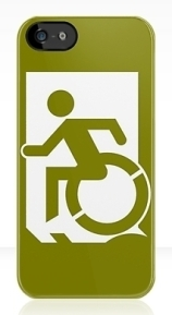 Accessible Means of Egress Icon Exit Sign Wheelchair Wheelie Running Man Symbol by Lee Wilson PWD Disability Emergency Evacuation iPhone Case 39