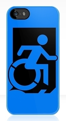Accessible Means of Egress Icon Exit Sign Wheelchair Wheelie Running Man Symbol by Lee Wilson PWD Disability Emergency Evacuation iPhone Case 4