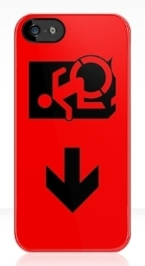 Accessible Means of Egress Icon Exit Sign Wheelchair Wheelie Running Man Symbol by Lee Wilson PWD Disability Emergency Evacuation iPhone Case 40