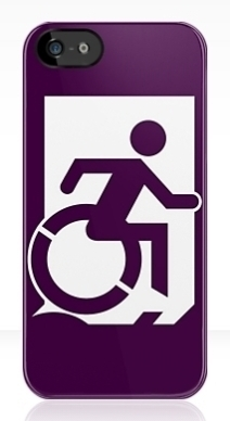 Accessible Means of Egress Icon Exit Sign Wheelchair Wheelie Running Man Symbol by Lee Wilson PWD Disability Emergency Evacuation iPhone Case 41