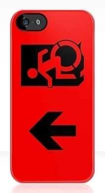 Accessible Means of Egress Icon Exit Sign Wheelchair Wheelie Running Man Symbol by Lee Wilson PWD Disability Emergency Evacuation iPhone Case 42