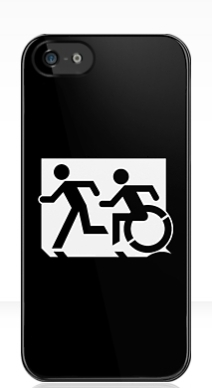 Accessible Means of Egress Icon Exit Sign Wheelchair Wheelie Running Man Symbol by Lee Wilson PWD Disability Emergency Evacuation iPhone Case 43