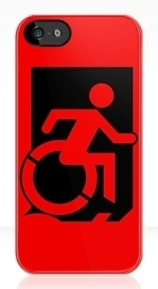 Accessible Means of Egress Icon Exit Sign Wheelchair Wheelie Running Man Symbol by Lee Wilson PWD Disability Emergency Evacuation iPhone Case 44