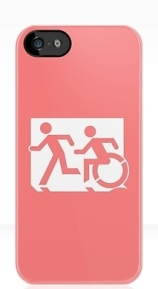 Accessible Means of Egress Icon Exit Sign Wheelchair Wheelie Running Man Symbol by Lee Wilson PWD Disability Emergency Evacuation iPhone Case 45