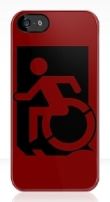 Accessible Means of Egress Icon Exit Sign Wheelchair Wheelie Running Man Symbol by Lee Wilson PWD Disability Emergency Evacuation iPhone Case 46