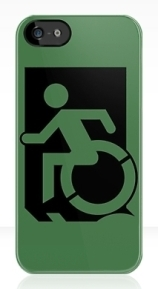 Accessible Means of Egress Icon Exit Sign Wheelchair Wheelie Running Man Symbol by Lee Wilson PWD Disability Emergency Evacuation iPhone Case 47