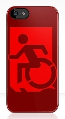 Accessible Means of Egress Icon Exit Sign Wheelchair Wheelie Running Man Symbol by Lee Wilson PWD Disability Emergency Evacuation iPhone Case 48