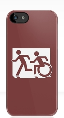 Accessible Means of Egress Icon Exit Sign Wheelchair Wheelie Running Man Symbol by Lee Wilson PWD Disability Emergency Evacuation iPhone Case 49