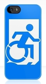 Accessible Means of Egress Icon Exit Sign Wheelchair Wheelie Running Man Symbol by Lee Wilson PWD Disability Emergency Evacuation iPhone Case 50