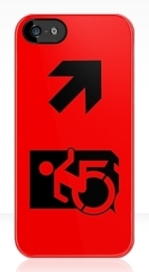 Accessible Means of Egress Icon Exit Sign Wheelchair Wheelie Running Man Symbol by Lee Wilson PWD Disability Emergency Evacuation iPhone Case 51
