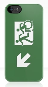 Accessible Means of Egress Icon Exit Sign Wheelchair Wheelie Running Man Symbol by Lee Wilson PWD Disability Emergency Evacuation iPhone Case 5