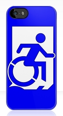 Accessible Means of Egress Icon Exit Sign Wheelchair Wheelie Running Man Symbol by Lee Wilson PWD Disability Emergency Evacuation iPhone Case 52