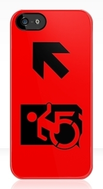 Accessible Means of Egress Icon Exit Sign Wheelchair Wheelie Running Man Symbol by Lee Wilson PWD Disability Emergency Evacuation iPhone Case 53