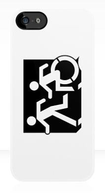 Accessible Means of Egress Icon Exit Sign Wheelchair Wheelie Running Man Symbol by Lee Wilson PWD Disability Emergency Evacuation iPhone Case 54