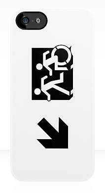 Accessible Means of Egress Icon Exit Sign Wheelchair Wheelie Running Man Symbol by Lee Wilson PWD Disability Emergency Evacuation iPhone Case 55
